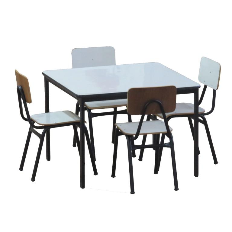 Mesa Com 4 Cadeiras Escolares Em Formica Absoluta M Veis - Mesas ...